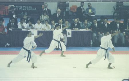 Sensei Ian Jereos in the middle circa 1993. Synchronized Kata. Gold Medal SEA Games 1993.